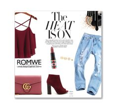 """""""Romwe Spaghetti Strap Top"""" by ayannap ❤ liked on Polyvore featuring INIKA, Gucci, MAC Cosmetics and LULUS"""