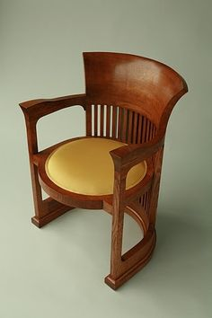 Custom Frank Lloyd Wright Barrel Chair designed for the Martin House Nice design - but how comfortable is it to sit in? Unique Furniture, Wood Furniture, Furniture Design, Fine Furniture, Art Nouveau, Art Deco, Love Chair, Barrel Chair, Frank Lloyd Wright