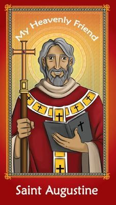 SAINT AUGUSTINE CHILDREN'S 2-SIDED HOLY CARD W/PRAYER(4-CARDS PER PACK)