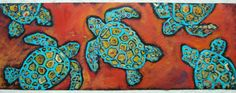 Acrylic Painting on Tar Paper of Multiple Sea Turtles 13 x 36. $90.00, via Etsy. Tortoise Pictures, Grade 1 Art, Roofing Felt, Middle School Art, Arts Ed, Inspirational Wall Art, Teaching Art, Art And Architecture, Designs To Draw
