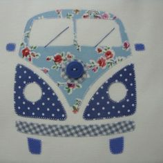 Oh, cute! VW camper bus applique. Would be adorable on a quilt. Campervan Blue