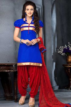 Royal blue, cotton, printed print, semi stictch patiala suit. V neck, Above knee length, short sleeves kameez. Maroon cotton patiala salwar. Maroon chiffon dupatta with lace border with work. It is perfect for casual wear and festival wear wear. Andaaz Fashion is the most popular designer wear online ethnic shop brands. http://www.andaazfashion.us/salwar-kameez/patiala-suits/occasion/party-wear-patiala-suits