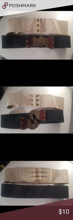 2 Deena & Ozzy belts, size S/M Urban outfitters brand belts, size small/med  Brand: Deena & Ozzy   One is black, the other is taupe. Good condition. The black has some scratches on the woodgrain, looks distressed. Deena & Ozzy Accessories Belts
