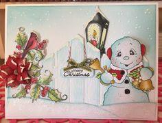 Heartfelt Creations Christmas Card with Magnolia Snowman stamp.