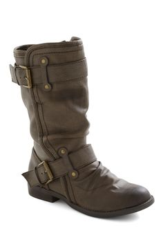 ModCloth.com | Speed Rumple Boots in Bistre - Brown, Solid, Buckles, Low, Faux Leather, Casual, Fall