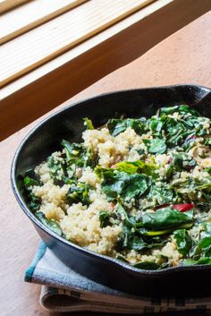 Easy Swiss chard recipe sautéed with lemon, quinoa, capers, and olives. #WeekdaySupper