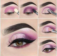 Stunning Eye Make-Up Tutorials! Awesome eye make-up tutorials for our girls! Makeup Eye Looks, Pink Eye Makeup, Dramatic Eye Makeup, Eye Makeup Steps, Colorful Eye Makeup, Simple Eye Makeup, Eyeshadow Makeup, Eyeshadow Ideas, Beauty Makeup