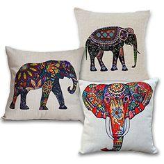 Wonder4 Elephant Decorative Throw Pillow Case, 3 pcs Cott...