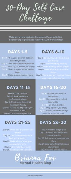 30-Day Self Care Challenge from Brianna Fae- Mental Health Blog. Set aside some time each day to take care of yourself to improve your physical and emotional health.