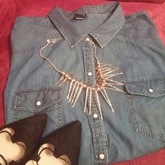 Chambray Shirt Everyone needs a nice chambray shirt in her wardrobe...this one is in excellent condition...has snap buttons torrid Tops Button Down Shirts