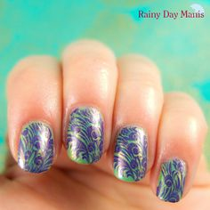 Some peacock nails today. As usual, stamped using MoYou London plates. #nails #nailart #moyoulondon  #peacock #stamping