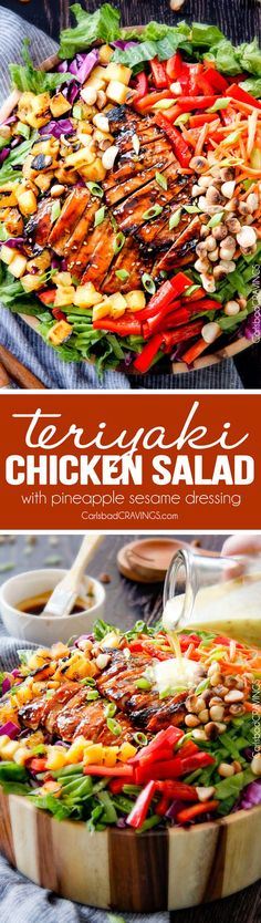 Teriyaki Chicken Salad - This salad is to live for! Packed with refreshing pineapple, macadamia nuts and coconut all doused with the most AMAZING Pineapple Sesame Dressing and the Sweet Chili Teriyaki Chicken is incredible!  But my favorite part is you drizzle the leftover Teriyaki glaze all over the salad!  Definitely a keeper! via @carlsbadcraving…