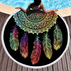 Mandala Round Beach Towel, Round Beach Towel with Tassels, Mandala Bohemian Beach Blanket, Beach Sum Tapestry Beach, Mandala Tapestry, Wall Tapestry, Mandala Blanket, Bohemian Tapestry, Tapestry Fabric, Dream Catcher Mandala, Feather Dream Catcher, Beach Blanket