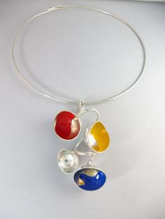 Eila Minkkinen Necklace, serie: Seasons, Summer plays,silver, enamel paint, 2013 Marimekko, Wearable Art, Finland, Designers, Jewelry Design