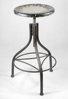"""WANT IT :: Industrial  Metal Stool 28"""" Grey :: Only $89 