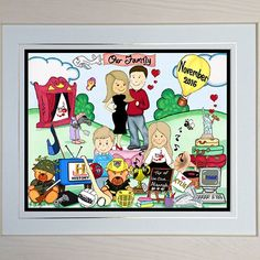 Our Family Toon! Celebrate your family with a BoogiecatDesigns.com toon. Give us as many details as you like and we'll capture your family in a framed toon. #family #framedgift #toon #wallart #myfamily #ourfamily #memento #framed #personalised Lets Celebrate, My Family, Custom Framing, Parenting, Wall Art, Comics, History, Frame, Families
