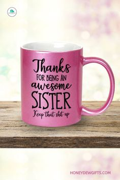 Searching for a sweet appreciation for your sister? This sister coffee mug has a gorgeous metallic finish, making it a great coffee mug and a beautiful ceramic decor. If you and your sister are best friends, then the more she will appreciate this. Your sister can use it as a pen holder, table accent, or pot for her indoor plant at home or in the office. It is one of the best multi-purpose work coffee mugs for women that you can buy under 20 bucks. Sisters Coffee, Swap Party, Pencil Cup, Coffee Milk, Metallic Pink, Novelty Items, Box Signs, Great Coffee, Ceramic Decor