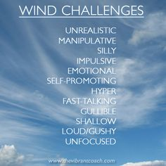 Elements Air: #Air ~ The Four Elements of Success™ Character Strengths and Challenges: Wind Challenges.