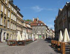 Warsaw old town early morning before tourist stroll in