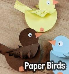 DIY Rocking paper birds - spring craft for kids Ring pap r mad rka - kreat v tavaszi tlet gyerekeknek Mindy - craft tutorial collection Bird Paper Craft, Paper Birds, Bird Crafts, Diy Home Crafts, Flower Crafts, Fun Crafts, Arts And Crafts, Paper Crafts, Recycled Crafts