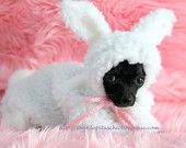 OMG THIS is awesome. lol.     Dog Costume Snuggle Bunny Little Puppy Rabbit Halloween Costume. $52.00, via Etsy.
