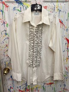 Mens tux ruffled vintage button down long sleeve shirt Large 16 white with black on ruffles accents RagsAGoGo Mens Tux, Tux Shirt, Button Downs, Ruffles, Long Sleeve Shirts, Kimono Top, Ruffle Blouse, Trending Outfits, Vintage