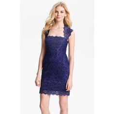 Nicole Miller Lace Fitted Cap Sleeve Lace Sheath Dress found on Polyvore