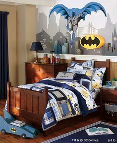 Batman™ Bedroom | Pottery Barn Kids. I Don't like decorating the kids' rooms in too much of a theme because their minds change SO quickly. Today it is batman, tomorrow it could be sharks!