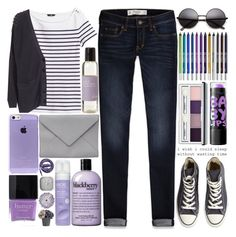 """""""61. I See A Woman In The Night"""" by raelee-xoxo ❤ liked on Polyvore featuring Maybelline, Urban Decay, Butter London, H&M, Clinique, Urbanears, Ann Demeulemeester, Friendly Hunting, Linea and Converse"""