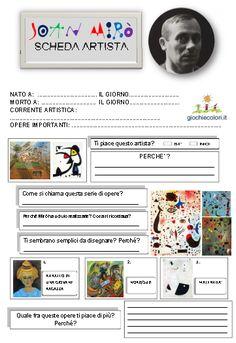 """Una """"scheda artista"""" per spiegare l'arte di Mirò ai bambini. Utile anche come…"""