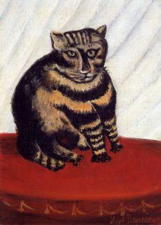 The Tiger Cat, Henri Rousseau 오늘날 앙리 루소는 큐비즘과 초현실주의 같은 다양한 미술 사조에 영향을 주었으며 '소박파', 혹은 '아웃사이더 아트'라는 예술을 개척한 화가라고 평가받고 있다. 그는 미술 교육을 전혀 받지 않았기 때문에 오히려 자신만의 독창적인 화풍을 가지게 되었고 이 때문에 오늘날 많은 사람들에게 사랑받고 있다고 한다. 이 작품은 호랑이 무늬가 있는 귀여운 고양이를 묘사했다. 굴리면 굴러갈 듯한 통통한 몸집과 발가락, 진지하면서도 익살스러운 표정이 감상자로 하여금 웃음 짓게 만든다. 앙리 루소는 그만의 위트 있는 표현에 능통한 사람이었던 것 같다.