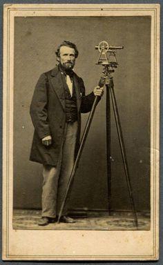 1860s CDV Photograph - Batavia, New York Surveyor with Surveying Instrument