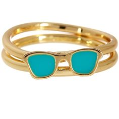Ariella Collection Sunglasses Stack Ring Set - Size 7 ($15) ❤ liked on Polyvore featuring jewelry, rings, turquoise, 14 karat gold ring, 14k stackable rings, ariella collection jewelry, stackable band rings and stackable rings