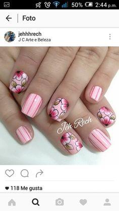Uñas Nail Salons, Nail Arts, Pretty Nails, Nail Designs, Floral, Tips, Beauty, Beautiful, Nail Art
