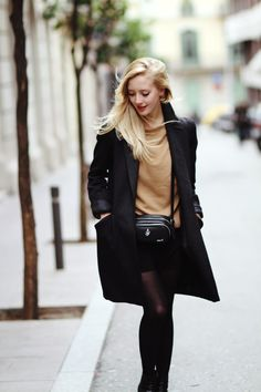 Women fashion clothing style outfit shoulder bag messenger coat black pantyhose brown blouse spring casual street
