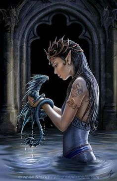 I LOVE this painting. I'm pretty sure she's supposed to be a water elf or something but I don't have water elves in any of my stories. :'(   O well I love it anyway. XD  And she's holding a water dragon. Those I do have. 8D