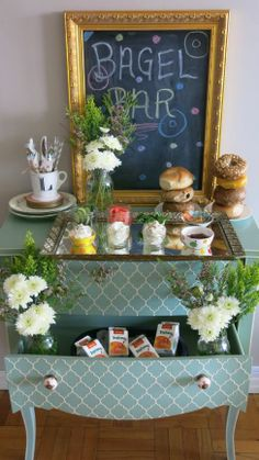bagel bar styling ideas #brunch #party #chalkboard