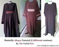 I loovvee this abaya a lot, so I thought why not share the love? :) It's one of the easiest abayas to make, but because of how awesome it looks at the end, people assume it's hard. Abaya Fashion, Muslim Fashion, Modest Fashion, Diy Fashion, Fashion Design, Dress Tutorials, Sewing Tutorials, Sewing Projects, Sewing Ideas
