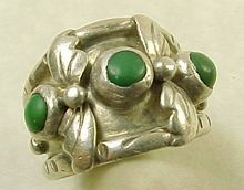 Vintage Sterling Silver Ring Nevada Green Turquoise