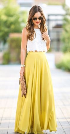Two Piece Floor-Length Modern Yellow Chiffon Prom Dress with Lace M2163
