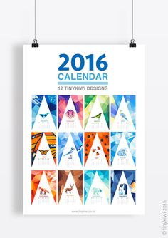 2016 Calendar, Geometric animals and birds, Minimal calendar, Wall calendar, Polar bear prints, Bird illustration,