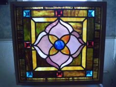 Antique Church Stained Glass Window Jewels Architectural Salvage 26 x 24 L M   eBay