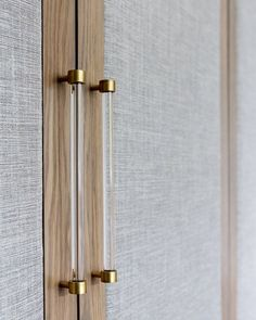 Mixing textures is the secret to great design, here we have used fabric wardrobe panels with unusual Lucite and brass handles. Black Door Handles, Cupboard Handles, Brass Handles, Brass Hardware, Cabinet Hardware, Wardrobe Door Handles, Wardrobe Doors, Closet Doors, Wardrobe Door Designs