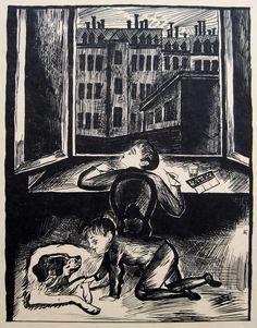 Conrad Felixmüller:  Kindheit , Original-Lithographie 1927 Söhn 372 Childhood