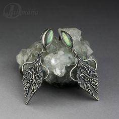 Earrings   Ann Mozon ~ Drakonaria.   Silver and labradorites.  Metalclay