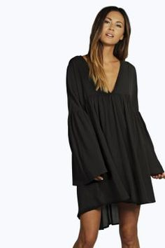 c39e931287 Val V Neck Woven Baby Doll Smock Dress at boohoo.com Dresses For Sale