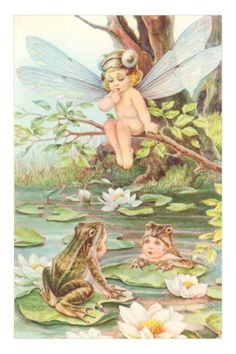 baby fairy and frogs