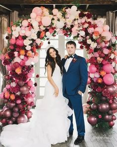 Try a balloon wedding arch! It'll add a fun and whimsy touch to your wedding ceremony space. Wedding Balloon Decorations, Wedding Balloons, Decor Wedding, Wedding Table, Wedding Trends, Trendy Wedding, Dream Wedding, Forest Wedding, Wedding Ideas