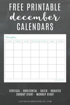 December calendar pages can help you organize your month, make the most of your time, plan upcoming events, and more! Grab these free December printable calendars and get planning! November Printable Calendar, November Calendar, Free Printable Calendar, Calendar Pages, Printable Planner, December, Printable Labels, Printable Designs, Free Printables