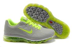new product 11530 5f39a Womens Nike Air Max 2012 Grey Fluorescence Green Shoes Nike Free Run 3 -